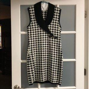 Herringbone pattern sweater dress